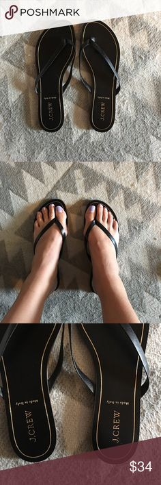 J. Crew black Leather Flip Flops size 9 J. Crew black Leather Flip Flops size 9. Perfect condition. NWOT. made in Italy. J. Crew Shoes Sandals