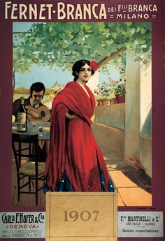 Here's two things we can't resist… A lady in red and Fernet-Branca Vintage Labels, Vintage Cards, Retro Vintage, Advertising Poster, Advertising Campaign, Vintage Prints, Vintage Posters, Italian Posters, Italian Life