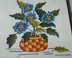 Paragon Little Beauty Crewel Embroidery Kit 0831 Basket of Blue Flowers Unworked #ParagonNeedlecraft