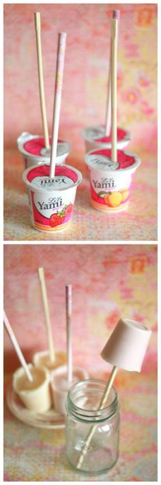 Genius! I have no idea why I haven't thought of this before. Take yogurt, push a chopstick through the top, freeze and voila~frozen yogurt pop.