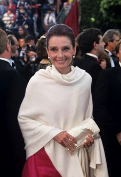 Audrey Hepburn photographed during her arrival at the 64th Annual Academy Awards in Los Angeles on March 30, 1992.