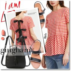 gingham top by svijetlana on Polyvore featuring moda, PUR, gingham and shein
