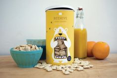 Concept Branding and Packaging: 'Beehive Honey Squares' - By Lacy Kuhn Honey Packaging, Cereal Packaging, Clever Packaging, Food Packaging Design, Pretty Packaging, Packaging Design Inspiration, Brand Packaging, Graphic Design Inspiration, Packaging Ideas