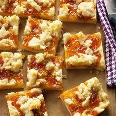 Winning Apricot Bars Recipe from Jill Moritz of Irvine, California easy baking recipes Cupcake Recipes, Cookie Recipes, Dessert Recipes, Bar Recipes, Baking Recipes, Baking Cupcakes, Baking Ideas, Köstliche Desserts, Delicious Desserts
