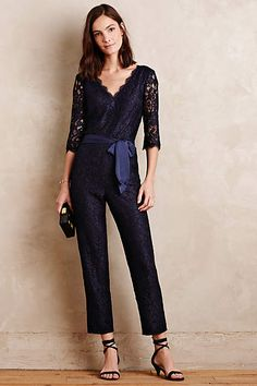Lace-Sleeve Jumpsuit - anthropologie.com