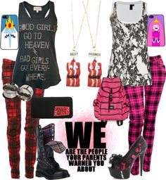 """""""plaid pants besties"""" by chapters-on-a-page ❤ liked on Polyvore"""