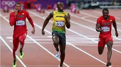 LONDON, ENGLAND - AUGUST 05: Usain Bolt of Jamaica races ahead of Ryan Bailey and Justin Gatlin of the United States to win the Men's 100m Final on Day 9 of the London 2012 Olympic Games at the Olympic Stadium on August 5, 2012 in London, England. (Photo by Cameron Spencer/Getty Images)
