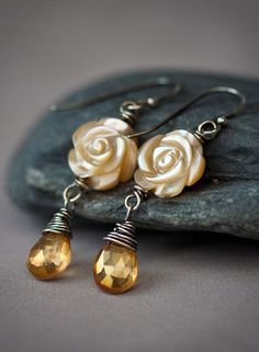 Honey Drops Roses - Wire Wrapped Sterling Silver Earrings