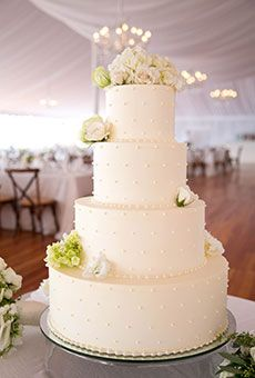 Four-Tiered White Cake with Piped Details | Wedding Cake