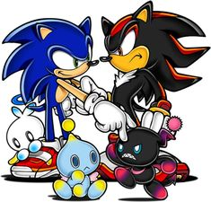 Sonic and shadow with their pet chaos