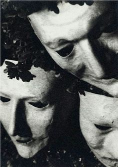 Artwork by Man Ray, Juliet and friends in papier-maché masks, Hollywood, Made of Silver print Lee Miller, Edward Steichen, Man Ray Photographie, Francis Picabia, Alfred Stieglitz, Female Head, Masked Man, Arte Horror, Great Photographers