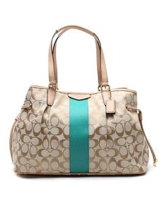 Light Khaki & Emerald Signature Stripe Satchel ***R***