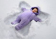 Baby snow angel! Is this possible? I mean, can a baby have enough common sense to lie in the snow and make these? Haha! So cute!