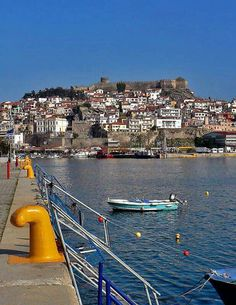 : View of the port in Kavala, Macedonia, Greece Beautiful Islands, Beautiful Places, Karpathos, Chios, Best Cities, Greece Travel, Macedonia Greece, Travel Inspiration, Places To Go