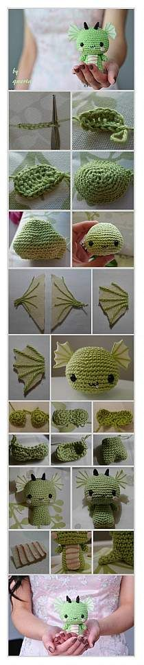 Crochet dragon - Maybe Grandma or Jenny can make me one for when Joey and I have a baby. He LOVES dragons, so I'm sure he'll love this idea! Crochet Amigurumi, Amigurumi Patterns, Crochet Dolls, Cute Crochet, Crochet Crafts, Yarn Crafts, Crochet Baby, Crochet Flower, Ideas