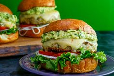 Turkey and Green Chili Burgers with Guacamole.