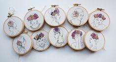 Floral Crown Embroidery 'Macie' 3 inch Hoop by CheeseBeforeBedtime