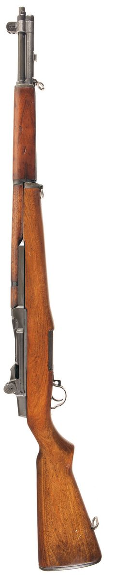 M1 Garand: Caliber: .30-06 (7.62x63 mm)  Action: Gas operated, rotating bolt  Overall length: 1103 mm  Barrel length: 610 mm  Weight: 4.32 kg  Feeding: non-detachable, clip-fed only magazine, 8 rounds