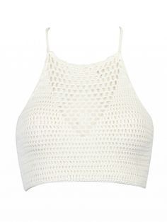 Crochet fabric;Halterneck style;Cut out insert;Straps design to back;Scallop trim;Hand wash cold;75%Polyester+25%Cotton