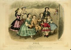 Very well-dressed children watch a puppet show in an 1862 fashion plate from French magazine L'Iris.
