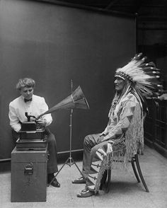 Mountain Chief, a Blackfoot leader of the 19th century, recording songs for the Smithsonian, in 1916. He belonged to the Kainai or Blood tribe of the Blackfoot Confederacy.