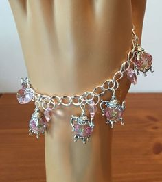 One of a Kind Sterling Teapots and Hearts Bracelet
