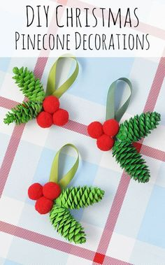 Make your own Christmas holly decorations, perfect for hanging on the tree or decorating the home. These DIY pinecone crafts make a lovely festive activity idea for the kids!