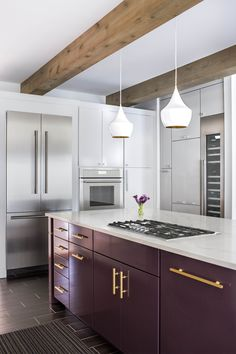 Get inspired by Modern Farmhouse Kitchen Design photo by TERRACOTTA DESIGN BUILD. Wayfair lets you find the designer products in the photo and get ideas from thousands of other Modern Farmhouse Kitchen Design photos. Purple Kitchen Cabinets, Purple Kitchen Decor, Kitchen Cupboards, Kitchen Backsplash, Purple Kitchen Designs, Kitchen Paint, Modern Farmhouse Kitchens, Farmhouse Kitchen Decor, Home Decor Kitchen