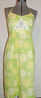 LILLY PULITZER Vtg Sun Dress 4 Green Yellow Spaghetti Straps $54.99 #vintagelillypulitzer #lillypulitzer #dress