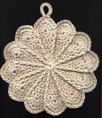 Free Crochet Pattern: Scalloped Potholder by Priscilla Hewitt.  I have made many variations using this pattern, and they are all a big hit. =)