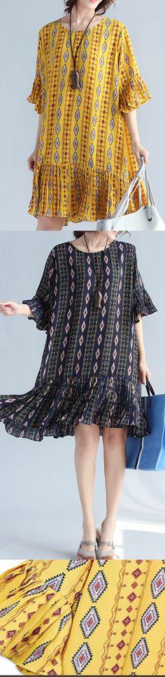 Elegant-yellow-prints-chiffon-shift-dresses-oversized-chiffon- 7e082f53624