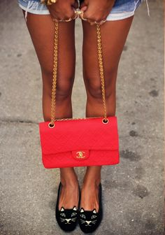Sincerely Jules with a Vintage Chanel 2.55 Red Flap Bag