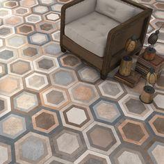 Hexagon Klinker Bushmills Multicolor - Kakel Online-Tiles R Us AB Patchwork Hexagonal, Hexagon Tiles, Geometric Tiles, Tiles R Us, Wall Tiles, Floor Design, Tile Design, Italian Tiles, Kitchen Tiles