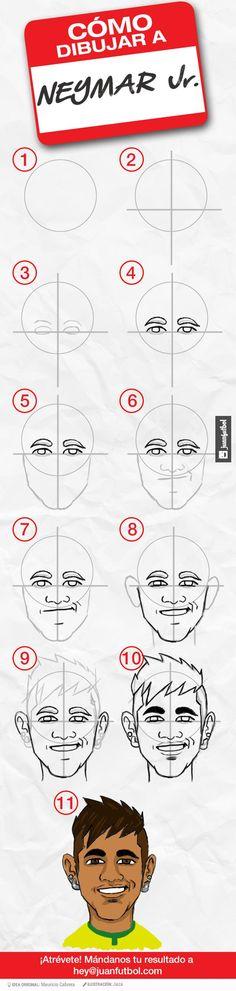 Cómo dibujar a Neymar en 11 pasos.