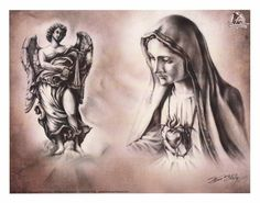 Religion Tattoos, Side Tattoos, Tatoos, Desenho Tattoo, Chicano Art, Angels And Demons, Angel Art, Skin Art, Religious Art
