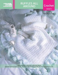 Ruffles All Around Baby Afghan ePattern - Double ruffles and satin ribbon add fanciful touches to this blanket of shell stitches. Destined to become a cherished keepsake, the frilly wrap is ideal for baby's homecoming, christening, or other outing.