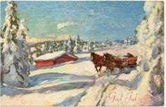 Julekort - Usig - Mann kjører tømmer med to hester Utg Oppi 519/1 stemplet 1940
