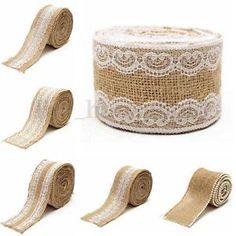 Juteband Baumband mit Spitze Tischband Dekoband Hochzeit Schleifeband Rupfenband