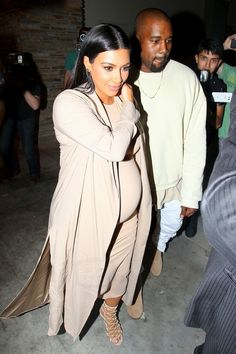 Kim Kardashian wearing  Wolford Bilbao Dress, Balmain SS16 Strappy Sandal, Juan Carlos Obando Custom Shawl-Lapel Silk-Charmeuse Coat