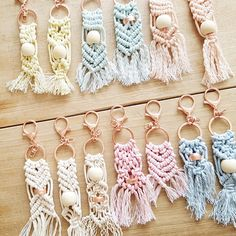 Macrababy Sr - Colourful Macrame Key Ring with Rose Gold Coloured Clasp and Bead