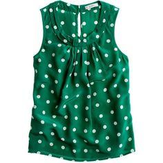 J.Crew Dotted silk shell ($80) ❤ liked on Polyvore featuring tops, shirts, blouses, tank tops, blusas, silk shirt, polka dot shirt, a line shirt, sleeveless tops and no sleeve shirt