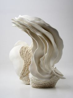 "sea of memory 009 – 013 . #CERAMIC #sculpture | ""The sea is the origin of life. All lives are connected and have been supporting each other. I create my work by imagining the source of harmony and balance of the ocean."" — Noriko Kuresumi"