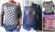 Crochet Off Shoulder Net Spring Sweater Free Pattern (Video): Crochet Tunic Sweater