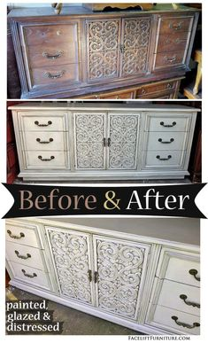 Grey Vintage Dresser with Scrollwork ~ Before & After. Find more painted, glazed & distressed inspiration on our Pinterest boards, or on the Facelift Furniture DIY blog.