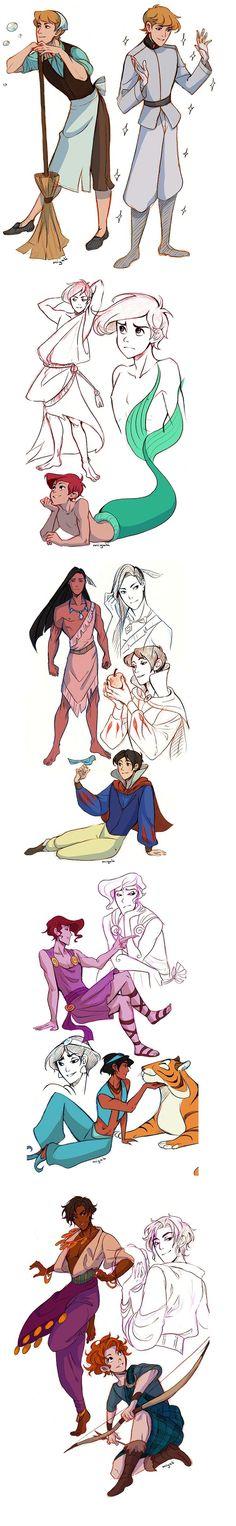 Disney Princesses as Males