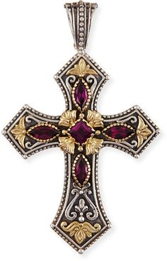 Shop for Silver & Rhodolite Cross Pendant by Konstantino at ShopStyle. Konstantino Jewelry, Antique Jewelry, Silver Jewelry, Silver Ring, Templer, Cross Art, Floral Necklace, Cross Jewelry, Religious Jewelry