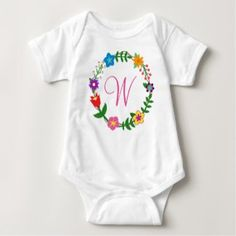 Monogrammed Bodysuit Letter W Frame Flowers. W for Wendy, Wendi, Wenda, Walker, Walda, Winona, Waverley, Whitney, and so on