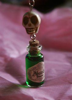 Skull and Absinthe Glass Jar Pendant Necklace via Etsy