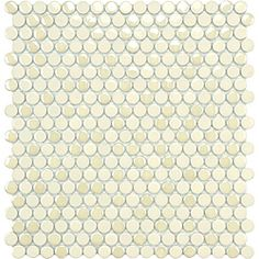 This tile is a new take on the classic penny-round mosaic. This tile is glazed porcelain with matte, glossy and iridescent finishes and is perfect for indoor or outdoor use.