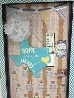 So Southern, so in love! Mrs. Kondo's class. Shabby chic class decor. Classroom Door Decoration Display. Mason jars, Texas teacher.